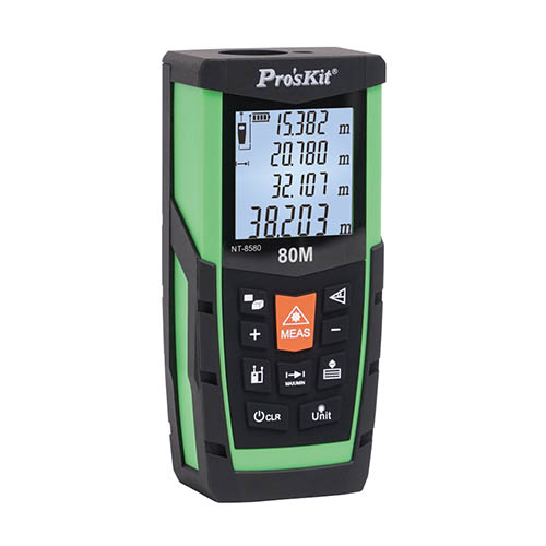 Eclipse NT-8580 80M Laser Distance Measurer with Integrated Multi-Measuring Functions, Area, Volume, Pythagorean, Large LCD, Fold-Out Extension (Eclipse NT-8580, Side View)
