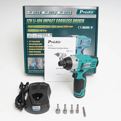 Eclipse PT-1207A 12V Li-Ion Impact Cordless Driver with Drills and Bits, 3000 IPM High Impact Force, 2200 RPM, 66 ft / lb High Torque, Li-Ion Battery (Eclipse PT-1207A, Package and Components)