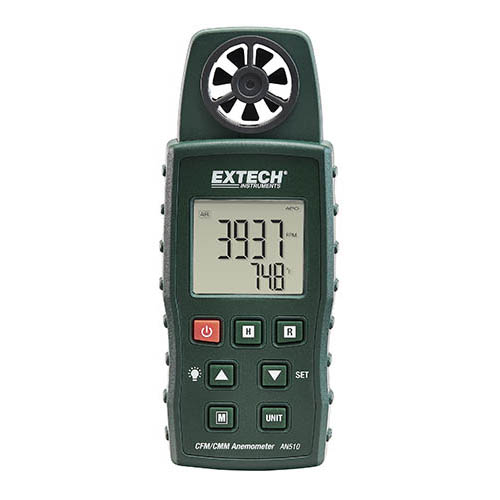 Extech AN510 CMM/CFM 4-in-1 Anemometer, with Type K Temperature Bead Probe