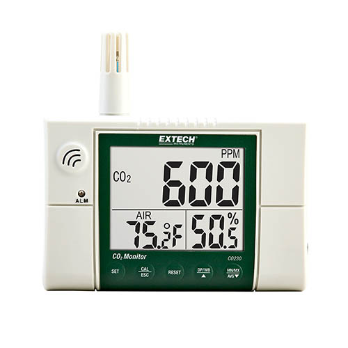Click for larger image of the Extech CO230 Wall Mounted Indoor Air Quality, Carbon Dioxide Meter