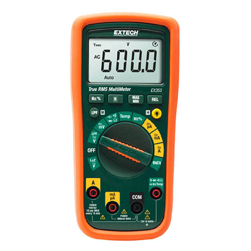 Extech EX355 True-RMS Digital Multimeter, 600VAC/DC, 10AAC/DC w/Non-Contact Voltage Detector