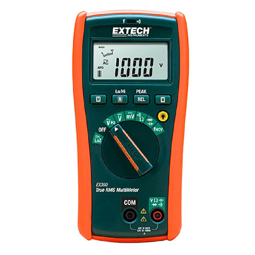 Extech EX360 True-RMS Electrical Digital Multimeter, 1000V, with Non-Contact Voltage Detector
