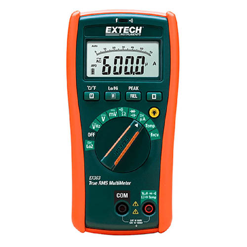Click for larger image of the Extech EX363 True RMS HVAC Multimeter, CAT IV, 11 Function, with NCV & Type-K Temperature Function