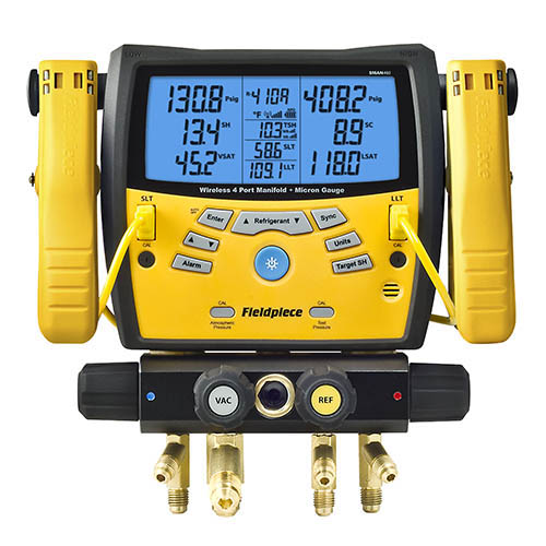 Fieldpiece SMAN460 Four-port Wireless Digital Manifold with Micron Vacuum Gauge