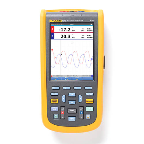 Fluke 124B/NA 40 MHz, 2-Channel, 40 MS/s Industrial ScopeMeter Hand-Held Oscilloscope