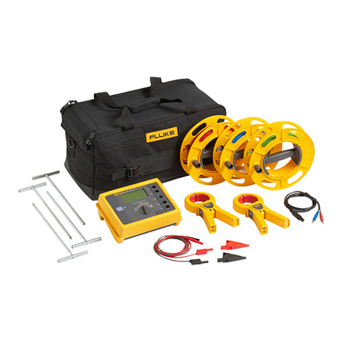 Click for larger image of the Fluke 1623-2 KIT GEO Earth Ground Tester Kit, Basic, with Cable Reels, Ground Stakes, Clamps & Case