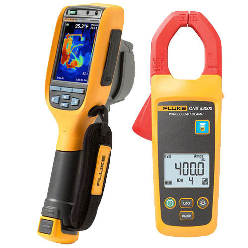 Fluke TI100/C1A 9HZ Thermal Imaging Camera with AC Wireless Current Clamp Module Combo Kit