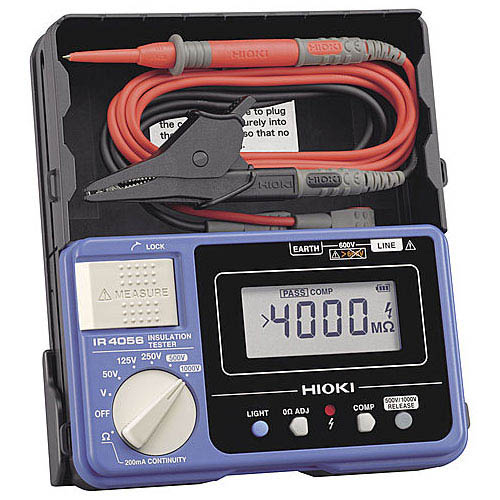 Hioki IR4056-20 5-Range Digital Insulation Resistance Tester, 1000V DC with Continuity Check