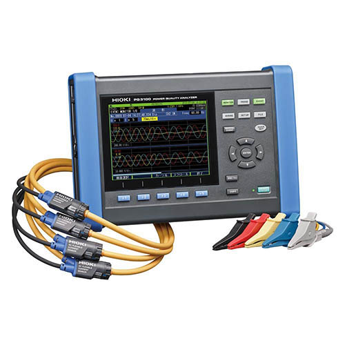 Hioki PQ3100-94 Power Quality Analyzer, 3-Phase 4-Wire with Four 6000A sensors and other accessories