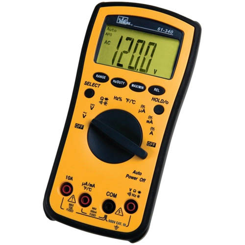 IDEAL Electrical 61-340 Test-Pro Multimeter AC/DC Voltage & Current/Frequency/Capacitance/Resistance