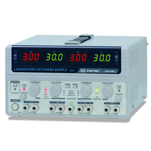Instek GPS-4303 Quad-Output DC Power Supply, (30V/3A x2