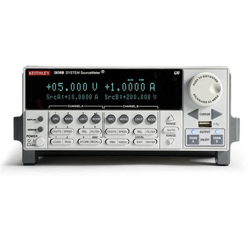 Keithley 2636B Dual-Channel System SourceMeter (SMU) with USB, LXI-C, GPIB, RS-232, I/O, .1fA/10A