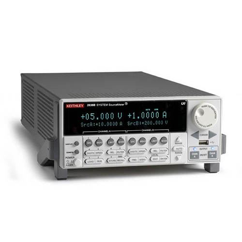 Keithley 2636B Dual-Channel System SourceMeter (SMU) with USB, LXI-C, GPIB, RS-232, I/O, .1fA/10A (Front/Top)