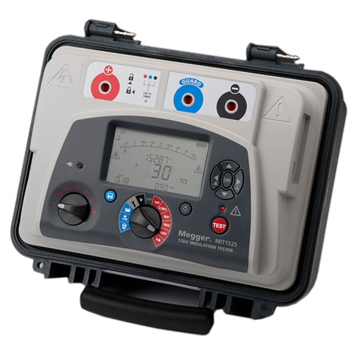Megger MIT1525-US 15 kV Diagnostic DC Insulation Resistance Tester (Angled View)