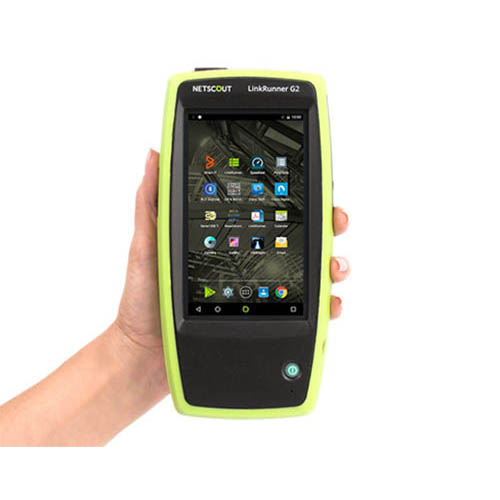 The LinkRunner G2 is handheld and easily portable)