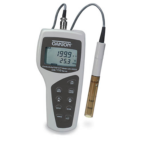 Oakton WD-35607-61 CON 110 Conductivity/TDS/Temperature Meter Kit with cable, NIST Calibration