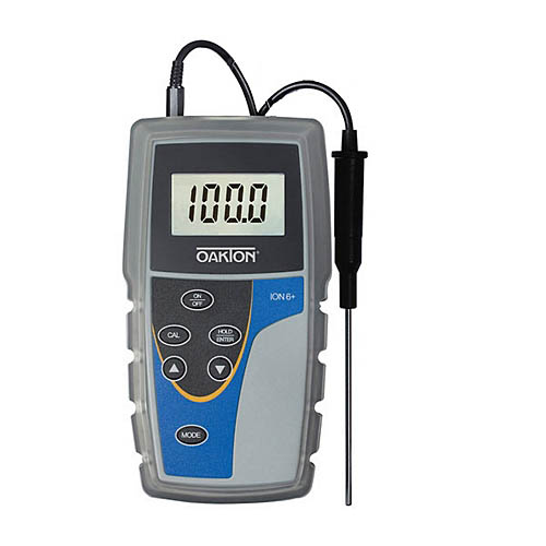 Oakton WD-35613-80 Ion 6+ Ion, pH, mV, Temperature Meter w/ATC Probe, Rubber Boot, and Batteries