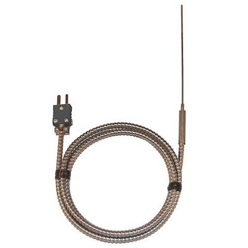 "Oakton WD-93607-20 Type-J Thermocouple Hypodermic-Tip Probe, Penetration, Food-Grade, Armored Cable, Grounded Junction, 4"" Sheath Length"