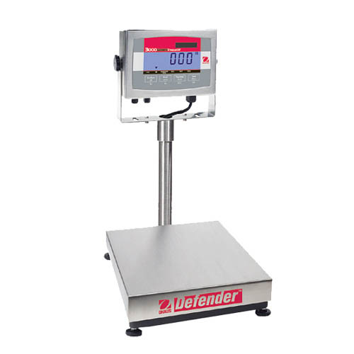 OHAUS D32XW60VR Defender 3000 Washdown Bench Scale, Capacity 60kg (150lb), Readability 10g (0.02lb)