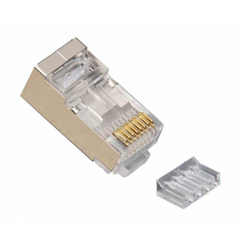 Platinum Tools 106207C RJ45 (8P8C) Shielded Cat6 2 pc. Connector w/ Liner, Round Solid, 3-Prong, 50