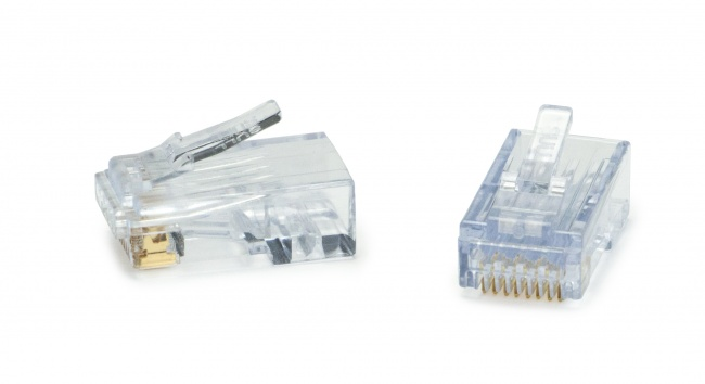 Platinum Tools 100019C ezEX48 RJ45 Cat6 / Cat6A Connectors with Hi-Lo Stagger Load Bar, Unshielded or Shielded