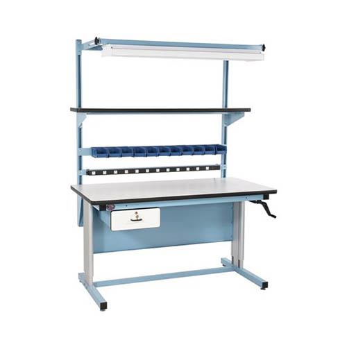 Pro-Line BIB16 (Model R) Ergonomic Height-Adjustable Workbench with ESD-Safe Laminate Surface, Power Supply, Bin Holder & Drawer, 60 x 30 in.