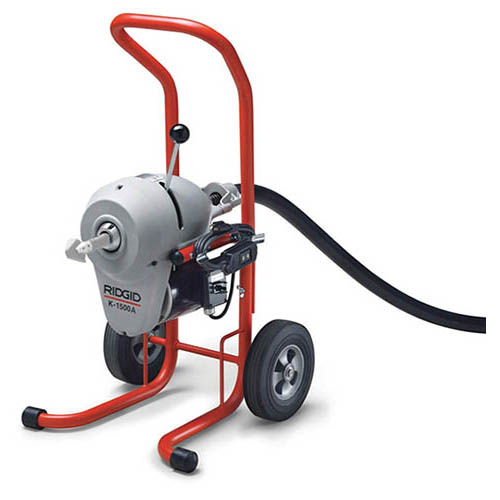 RIDGID 23692 K-1500A Sectional Drain Cleaning Machine w/A-1 Mitt, A-12 Pin Key, and Rear Guide Hose