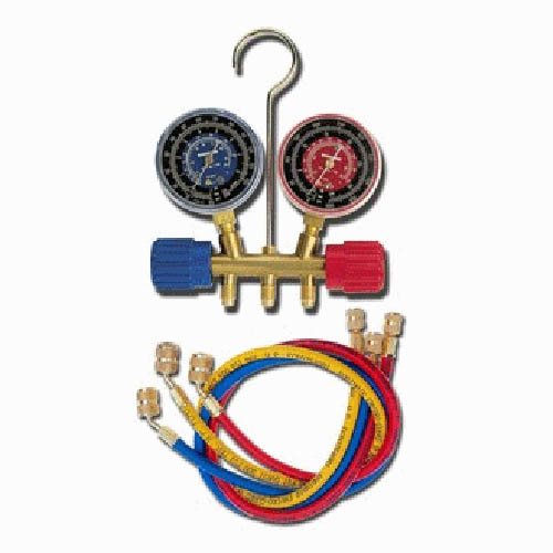 Robinair 40192 R22/134A/404A 2 1/2 in Red/Blue Gauge, 60 in Standard Hoses With Standard Fitting