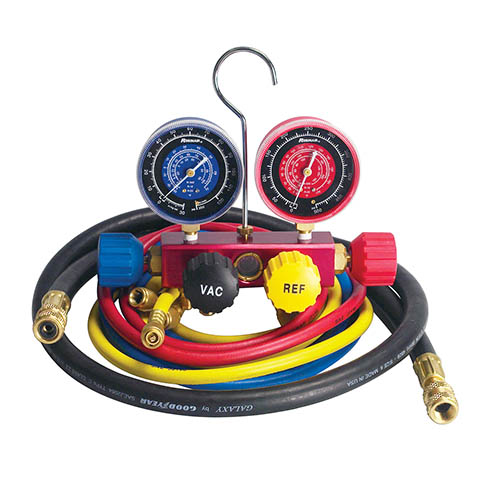 Robinair 42266 R12/22/502 Manifold, 4 Way, 60 in Enviroguard Hoses, 60 in 3/8 Black Evac Hose
