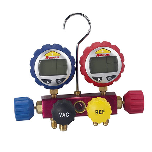 Robinair 43160 4 way Alum Manifold with Digital Gauge - No Hose, Detects Vacuum, LCD Screen