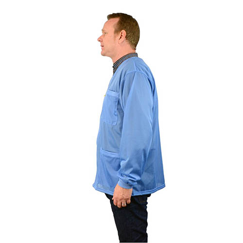 SCS 770017 4Xlarge Blue Smock Jacket with Knitted Cuffs, 3 Pockets, No Collar (Angle)