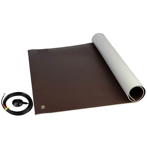 SCS 8201 Dissipative ESD 3-Layer Vinyl Floor Mat Kit, Brown with Ground Cord and Snap Fasteners, 0.140 in. X 48 in. X 72 in.