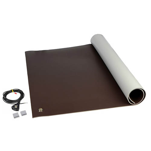 SCS 8221 Dissipative ESD 3-Layer Vinyl Worksurface Mat Kit, Brown, 0.140 in. X 24 in. X 36 in.