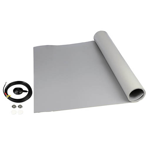 SCS 8263 Dissipative ESD 3-Layer Vinyl Worksurface Mat Roll Kit, Gray, 0.140 in. X 24 in. X 24 ft.