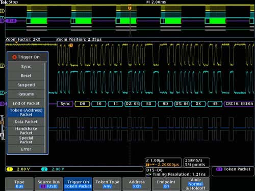 Triggering on a specific OUT Token packet on a USB full-speed serial bus, the yellow waveform is the D+ and the blue waveform is the D-; a bus waveform provides decoded packet content including Start, Sync, PID, Address, End Point, CRC, Data values, and Stop.