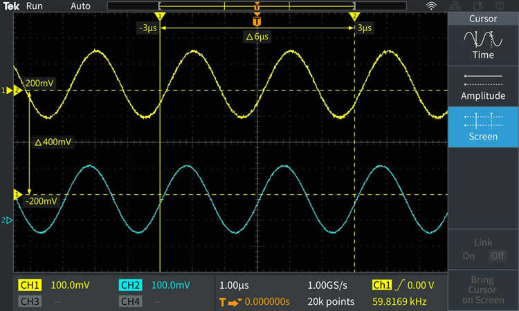 The cursor readouts are presented on the waveform display. Cursors can be used to measure time, amplitude, or both.
