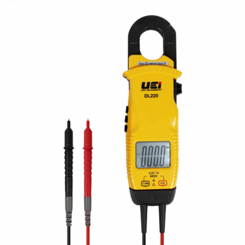UEI DL220 AC Clamp-On Meter and Voltage Tester, 600VAC/DC