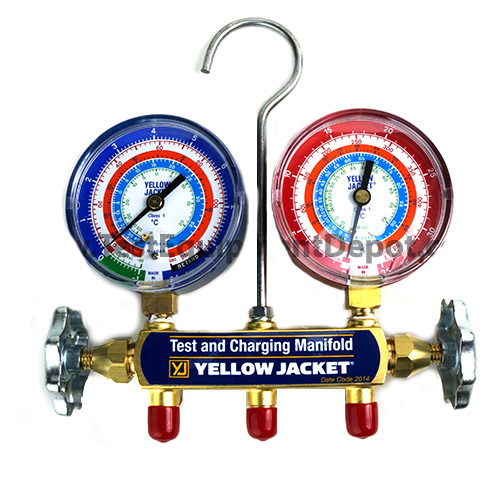 bar//psi Yellow Jacket 41622 Manifold Only with 3-1//8 Color-Coded Gauges R-22//134A//404A Fotronic Corporation