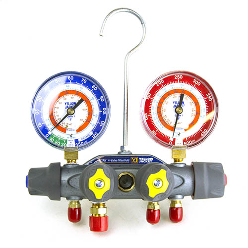 Yellow Jacket 49932 Titan Test and Charging Manifold, 4-Valve, (psi °F) R134a/404A/407C, with Red/Blue Gauges, No Hoses