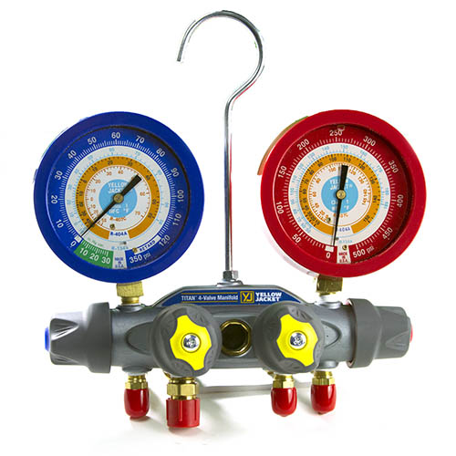 Yellow Jacket 49952 Titan Test and Charging Manifold, 4-Valve, (psi °F) R134a/404A/407C, with Liquid Gauges, No Hoses